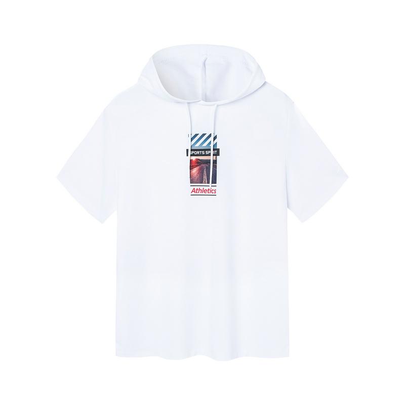 特步 男子卫衣 19夏新款时尚印花图案连帽短袖881229059276