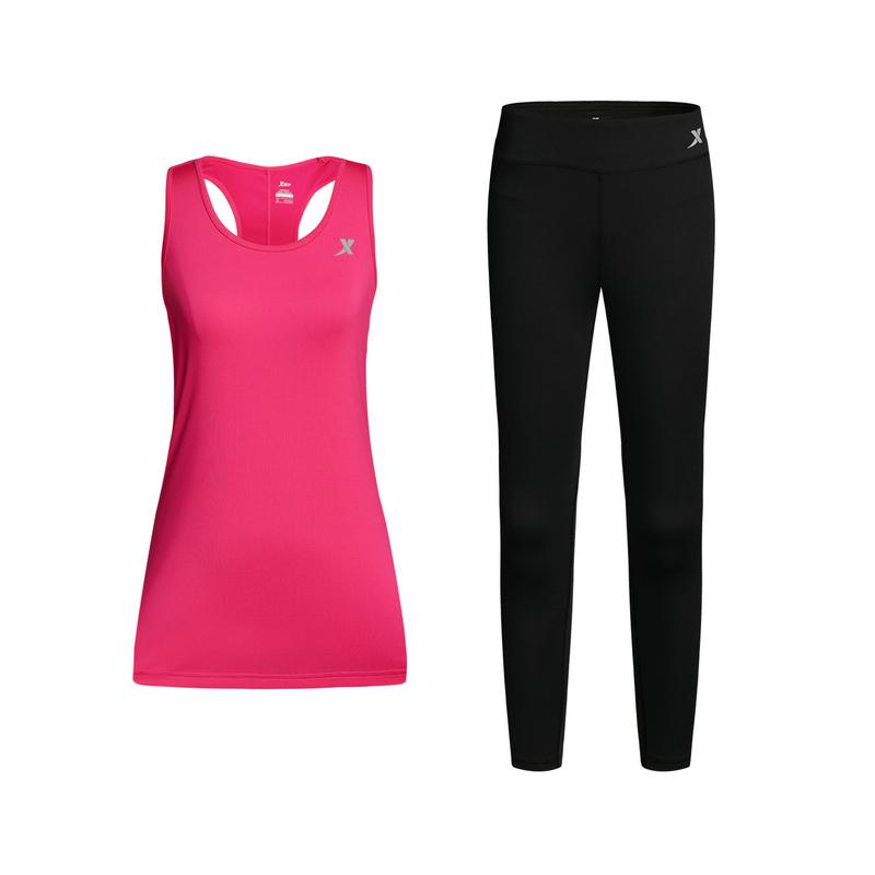 特步 女子跑步套装 背心紧身裤运动2件套882128959313