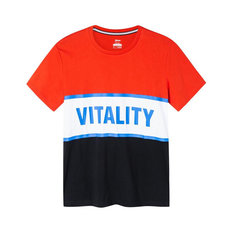 特步 男子短袖针织衫 19夏新款时尚潮流撞色条纹短袖881129019447