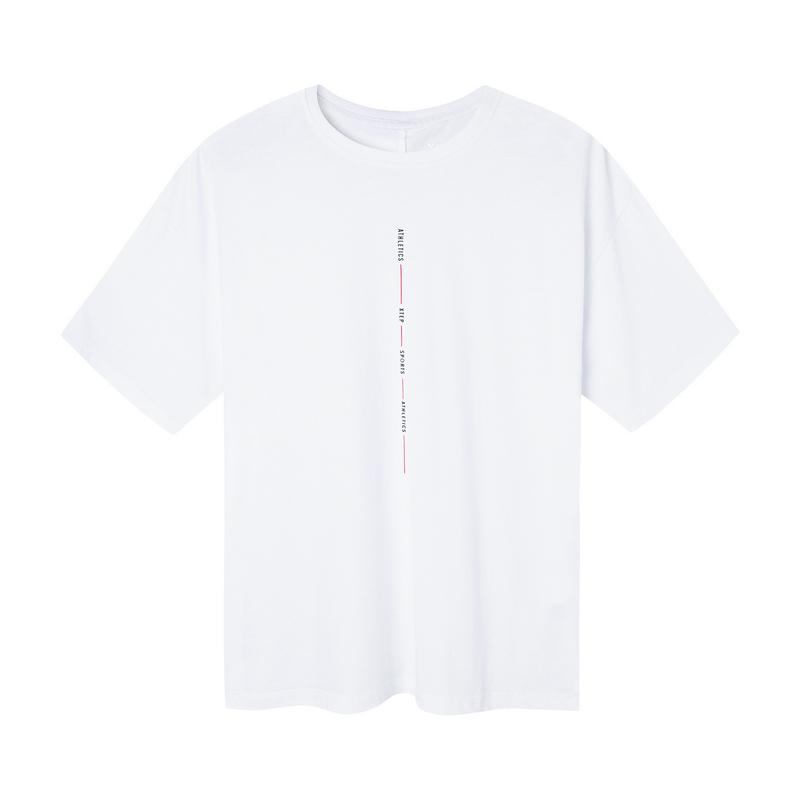 特步 男子短袖针织衫 2019春季新款简约设计宽松短袖881129019033