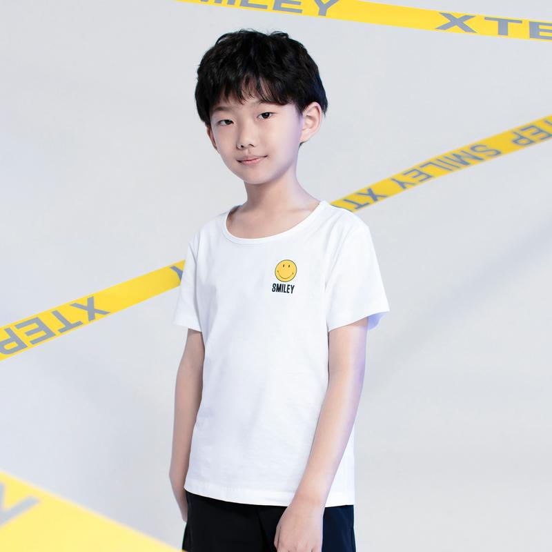 特步 2019夏季童装男童中大童短袖针织衫亲子装smiley881226019187