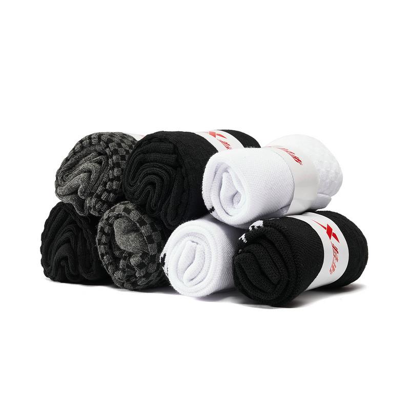 特步 男子平板短袜七双装 19新款透气舒适短袜881339549059