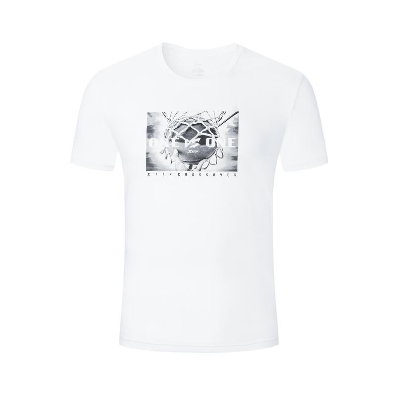 特步 男短T恤 19夏新款时尚运动圆领透气短袖881229019296