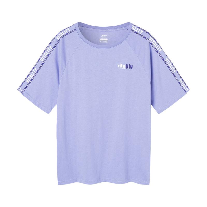 【景甜同款】特步 女子短袖针织衫 19新款时尚休闲百搭短袖881228019343