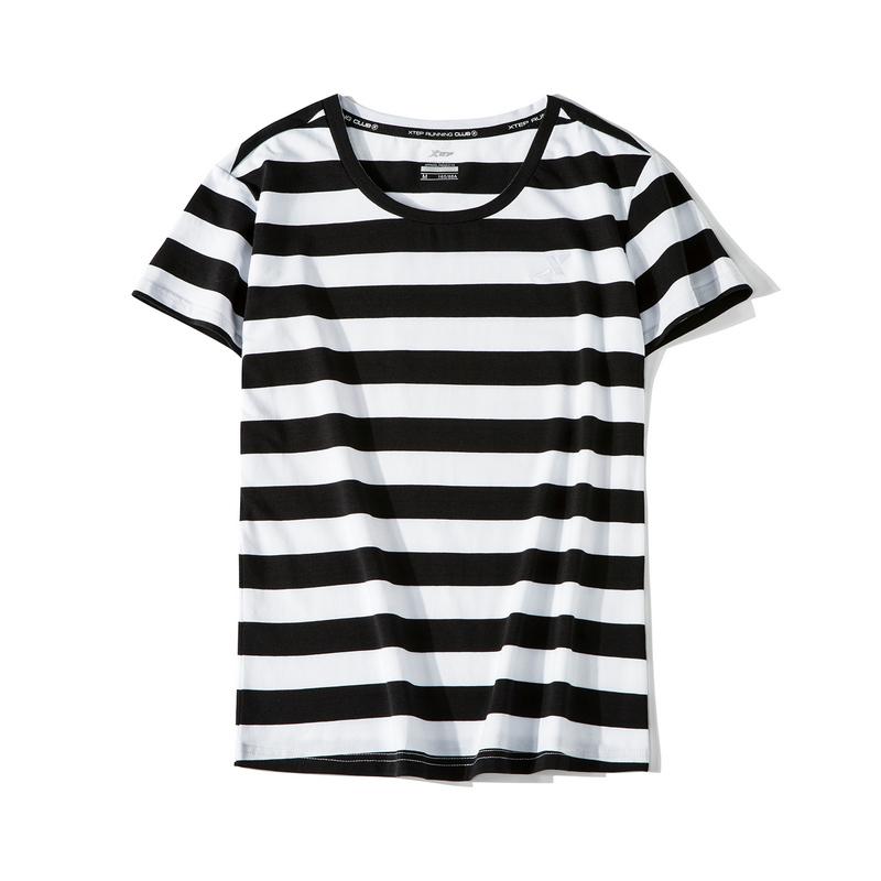 特步 女子短袖 19夏新款时尚休闲条纹T恤881228019324