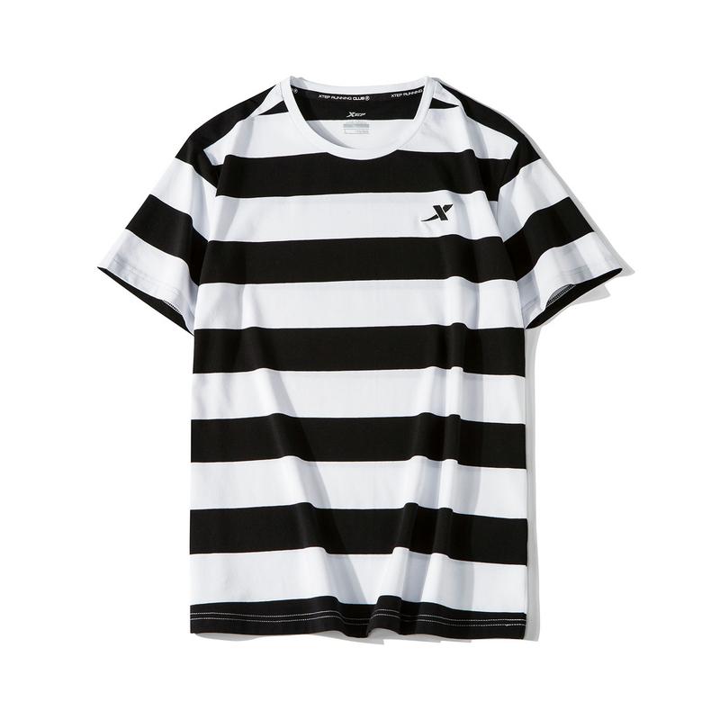 特步 男子短袖 19夏新款时尚休闲条纹衫881229019323