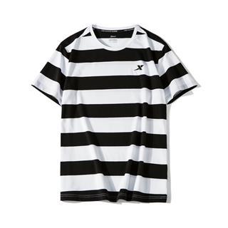 特步 男子短袖 时尚休闲条纹衫881229019323
