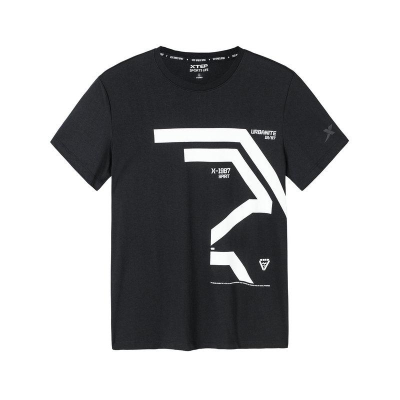 特步 专柜款 男子短袖针织衫 19新款简约时尚T恤981129012471