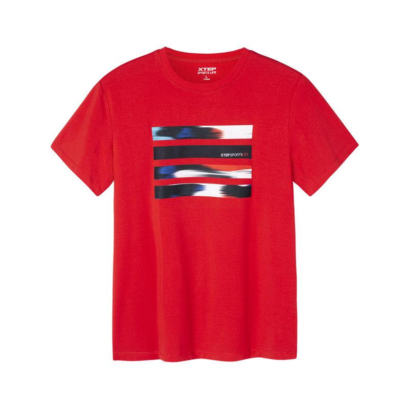 特步 专柜款 男子短袖针织衫 19新款简约条纹图案上衣981129012486