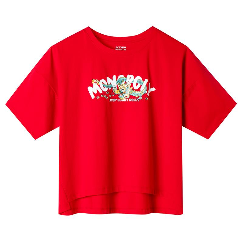 特步 专柜款 女子短袖针织衫 19新款时尚印花图案T恤981228012599