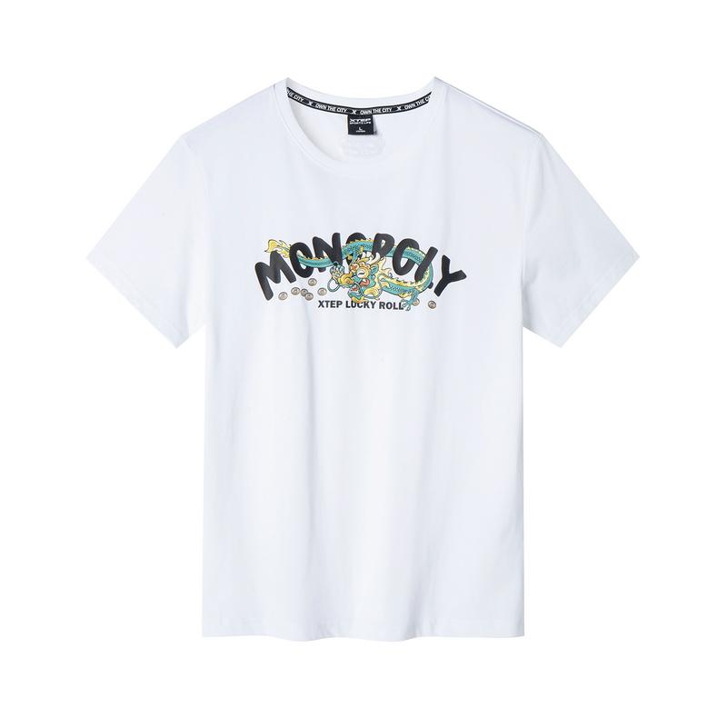 特步 专柜款 男子短袖针织衫 19新款时尚图案T恤981229012587