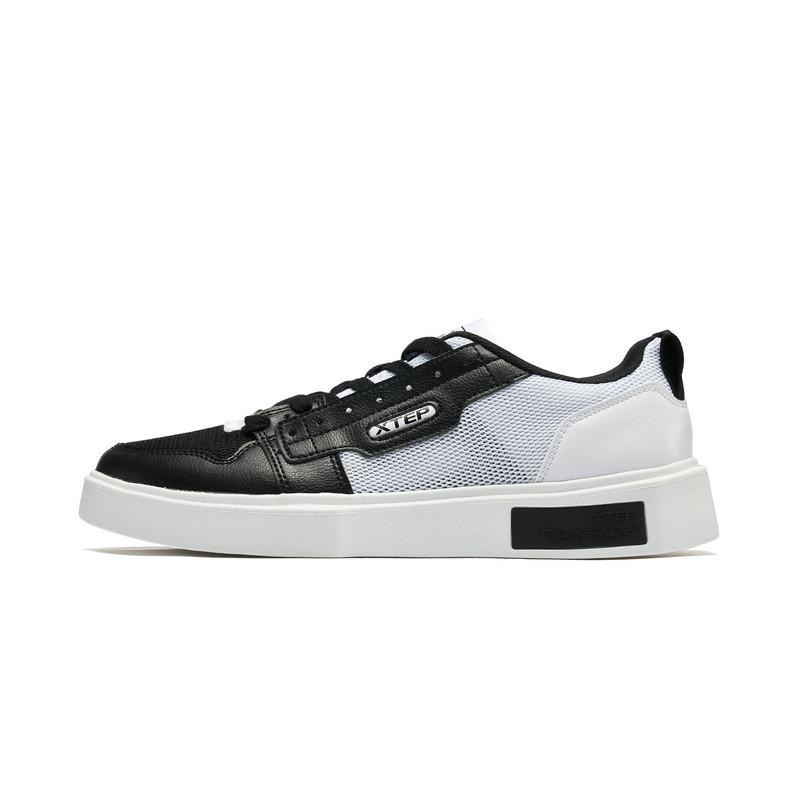 特步 专柜款 男子板鞋 19新款网革拼接时尚透气鞋981219316280