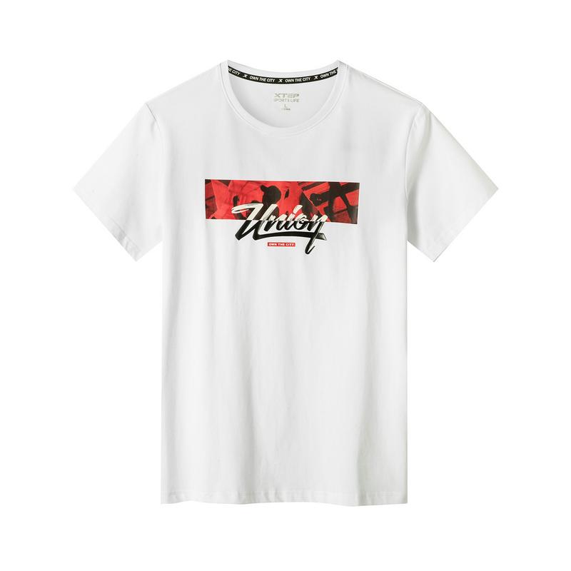特步 专柜款 男子短袖针织衫 19新款时尚印花街头T恤981229012570