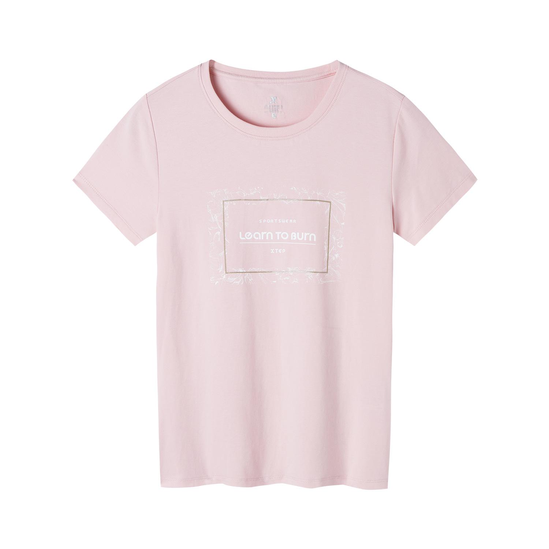 特步 专柜款 女子综训短袖 秋季新款舒适透气百搭简约运动T恤981328010038