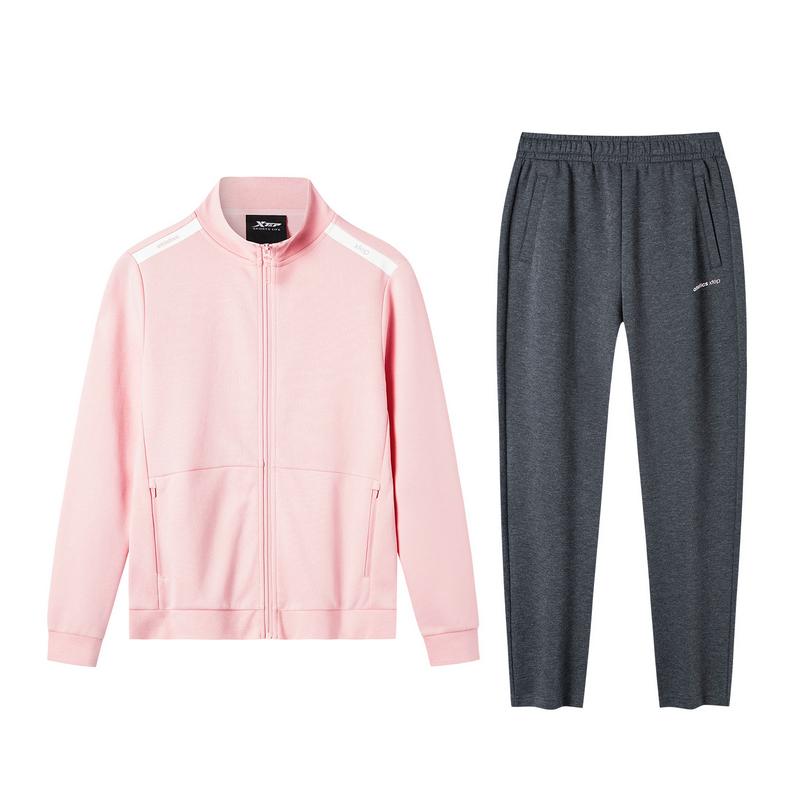 特步 女子针织套装 19新款简约针织拉链外套长裤运动两件套881328969222