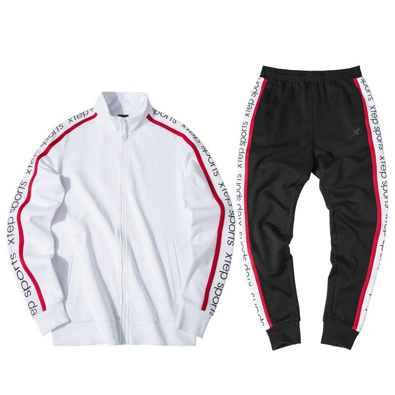 特步 女子针织套装 19新款拉链立领卫衣长裤运动两件套881328969251