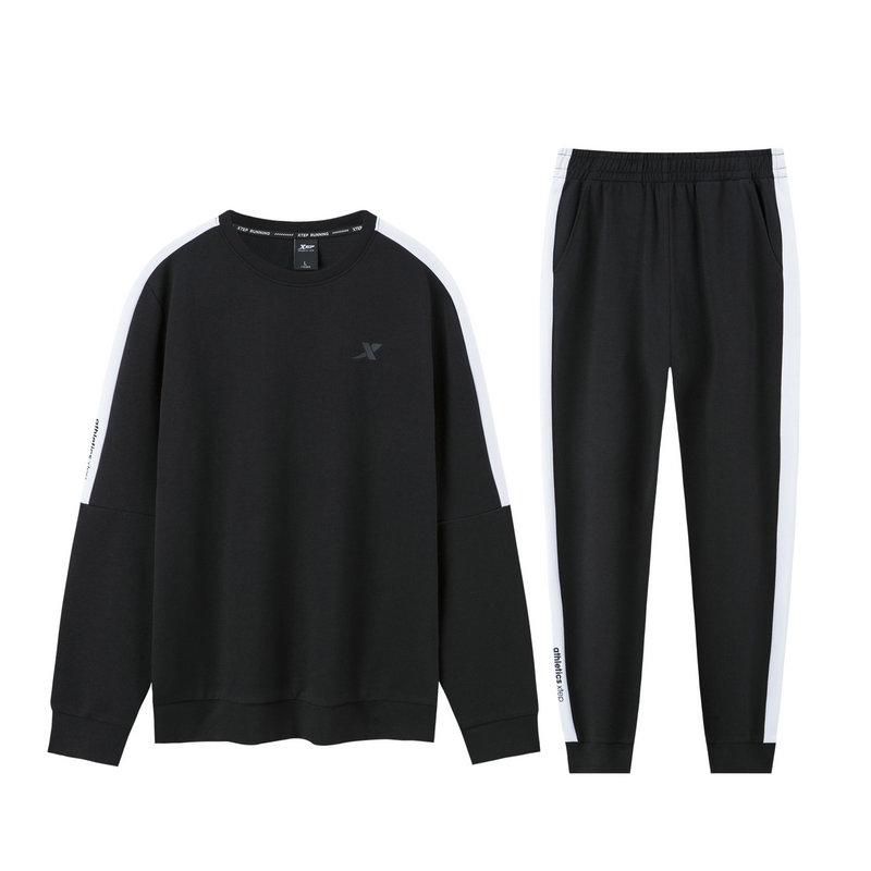 特步 男子针织套装 时尚卫衣长裤运动两件套881329969076