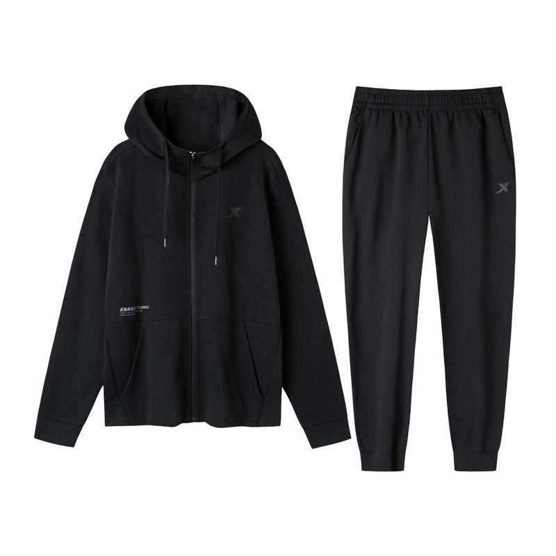 特步 男子针织套装 19新款拉链外套长裤运动两件套881329969220