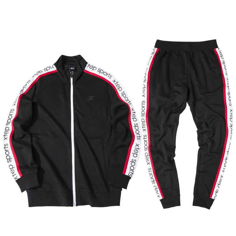 特步 男子针织套装 19新款时尚条纹侧边卫衣长裤两件套881329969221