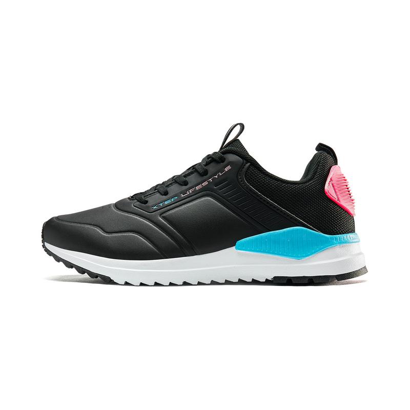 特步 专柜款 女子休闲鞋 19新款时尚革面系带运动鞋981318326988