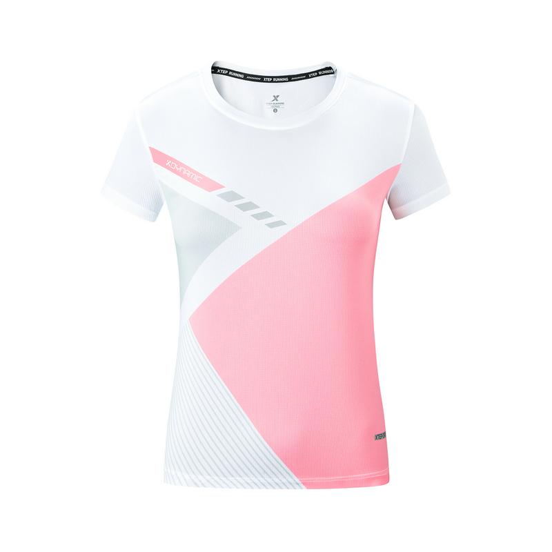 特步 专柜款 女子马拉松短袖针织衫 19新款运动健身跑步T恤981328010183