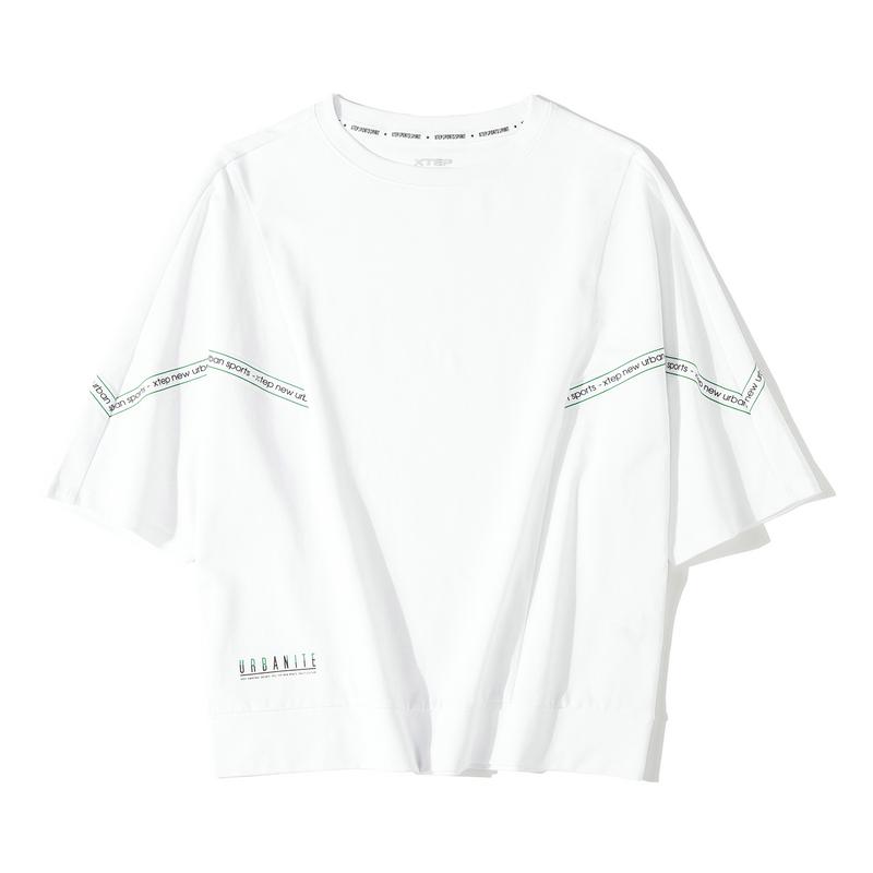 特步 专柜款 女子短袖针织衫 2019年秋季新款休闲时尚短袖T恤981328010455