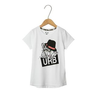 特步 专柜款 女童都市时尚短袖 中大童百搭透气卡通针织衫681224014087