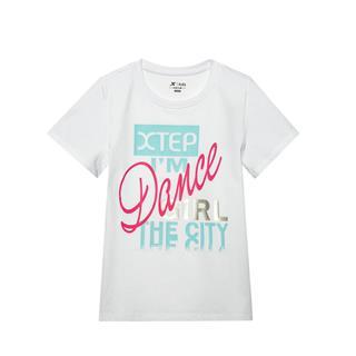 特步 专柜款 女童时尚百搭针织衫 中大童潮流字母短T681224014118
