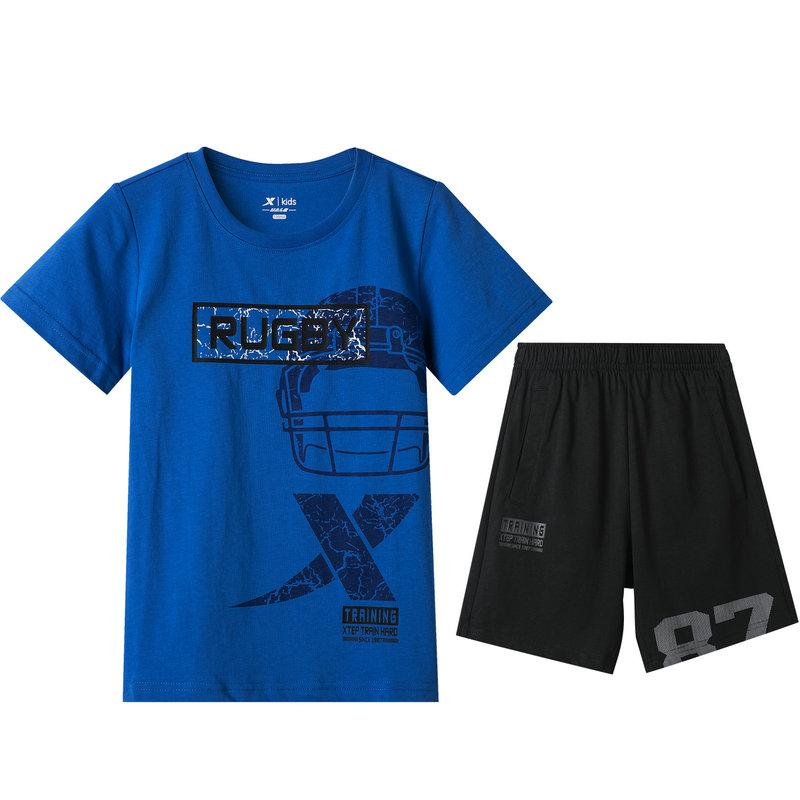 特步 专柜款 男童运动短袖套装 中大童简约透气时尚套装 681225344156