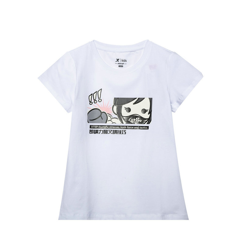 特步 专柜款 童装2019夏季新款短袖针织衫女童亲肤T恤大童装681224014036