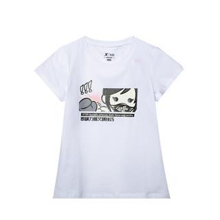 特步 专柜款 童装短袖针织衫女童亲肤T恤大童装681224014036