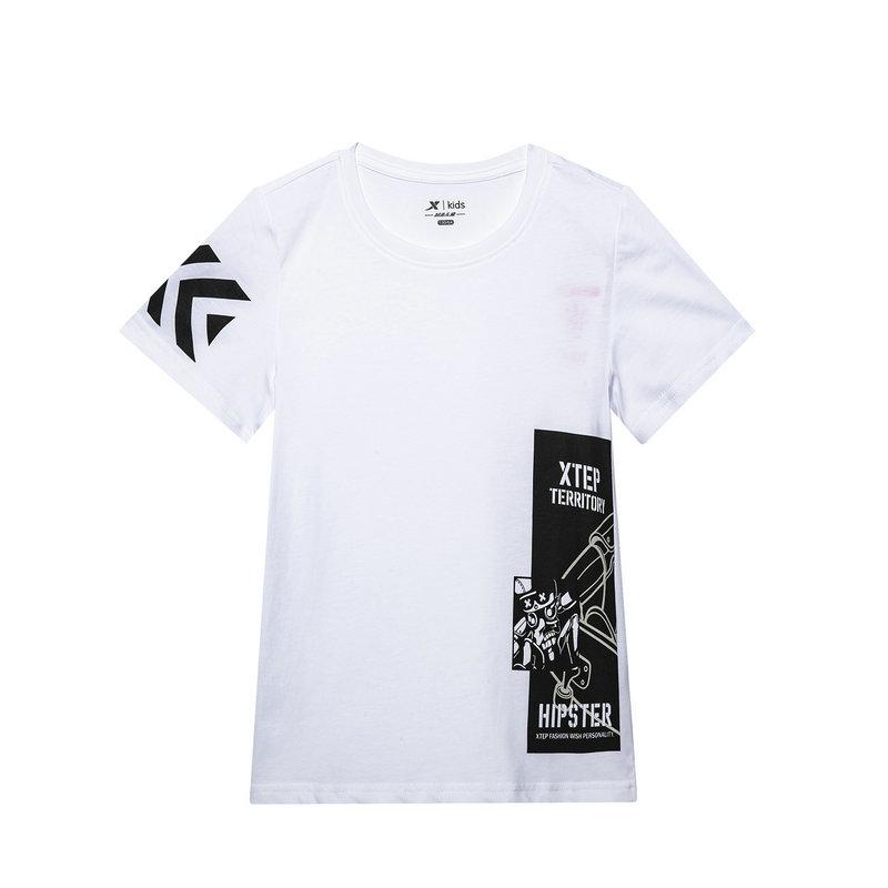 特步 专柜款 童装2019夏季新品男童圆领短袖上衣针织运动T恤681225014028