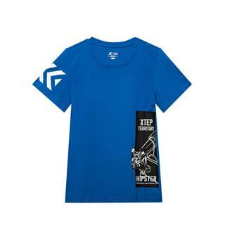 特步 专柜款 童装新品男童圆领短袖上衣针织运动T恤681225014028