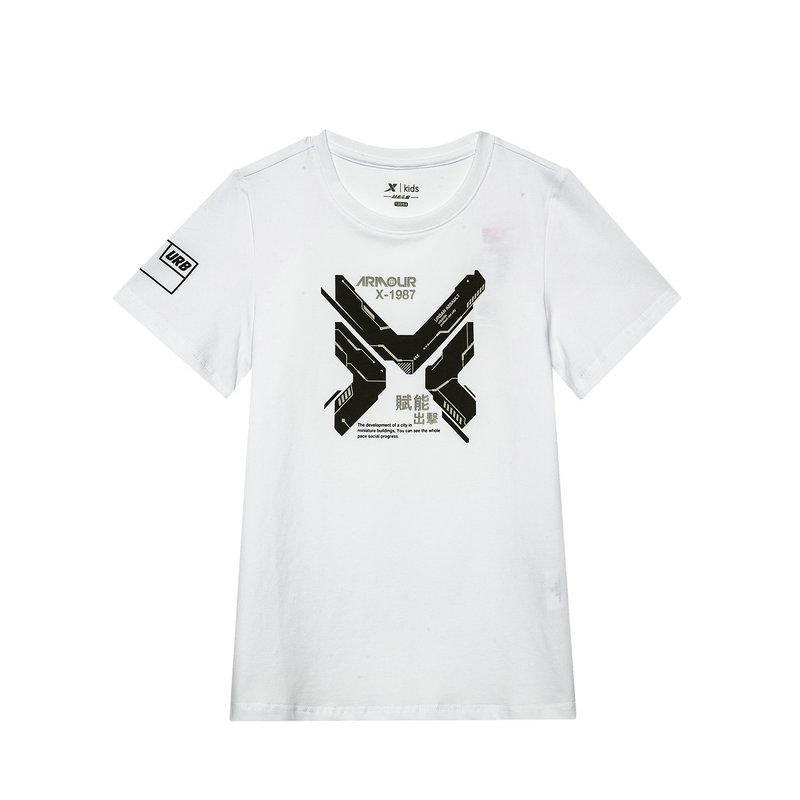 特步 专柜款 儿童19夏新款男童中大童运动短袖针织衫纯棉T恤681225014003