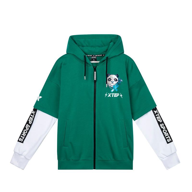 【这就是街舞】特步 专柜款 男连帽外套绿色上衣针织战队服981229068816