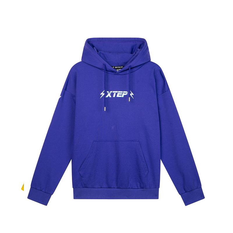 【这就是街舞】特步 专柜款 男子连帽卫衣紫色套头衫战队服981229058818