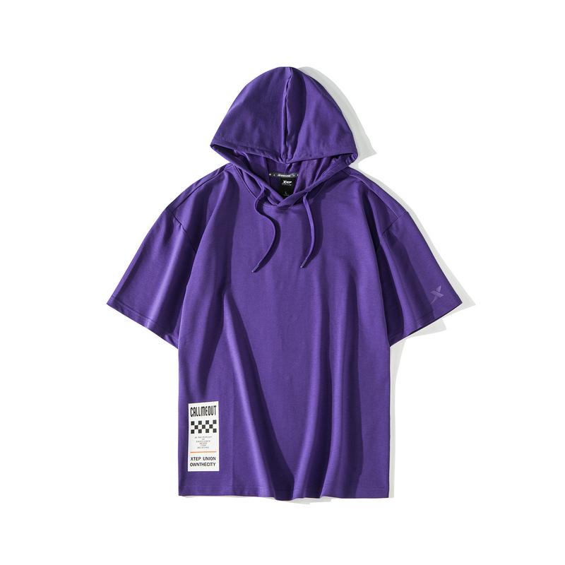 【这就是街舞】特步 男子短袖2019夏季新款连帽舒适短袖街舞嘻哈潮881229019315