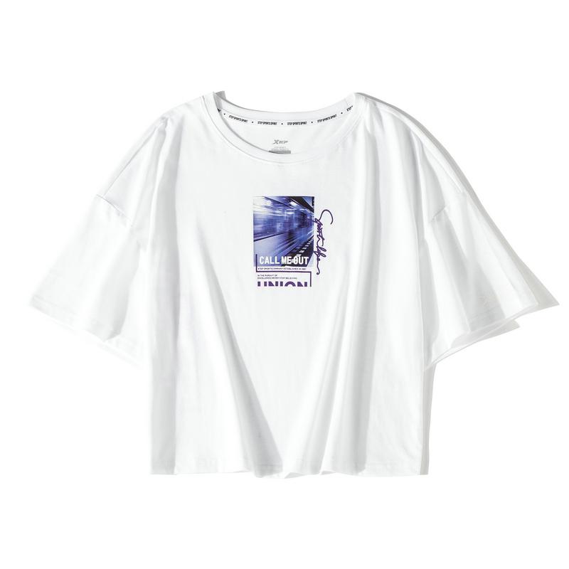 【这就是街舞】特步 短袖T恤女2019夏季新款女装宽松上衣透气女装881228019311