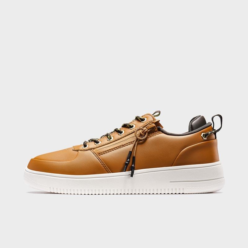 特步 专柜款 男子板鞋 19新款潮流革面拉链小白鞋981319316187