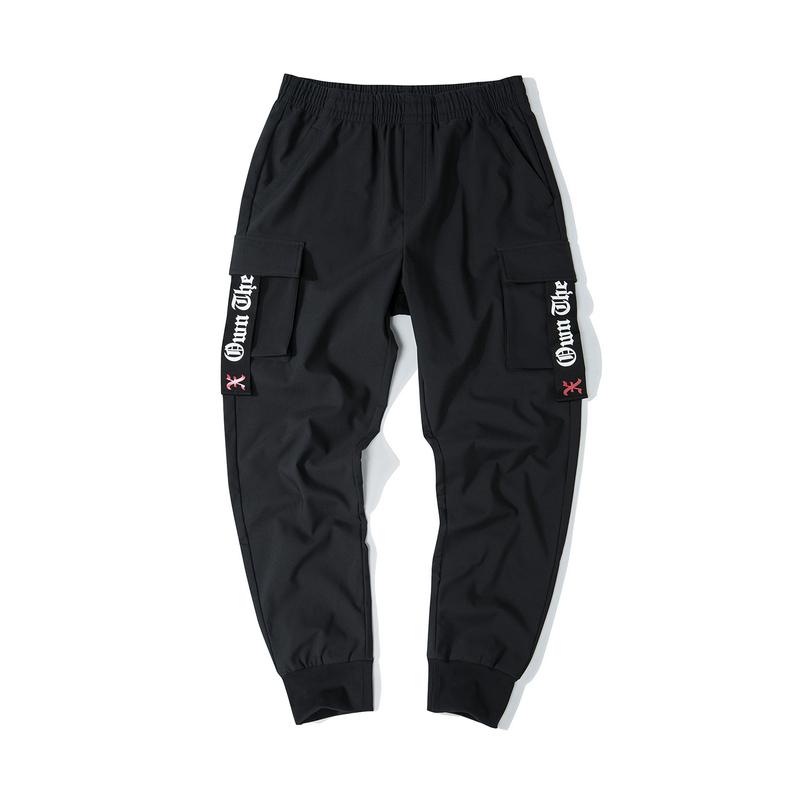 特步 男子梭织单裤 19新款ins风街头口袋收脚工装裤881429499176