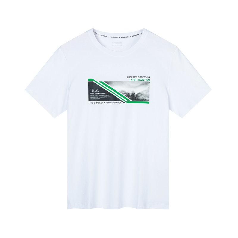 特步 专柜款 男子短袖 2019秋季新款字母图案运动棉T恤上衣981329010138