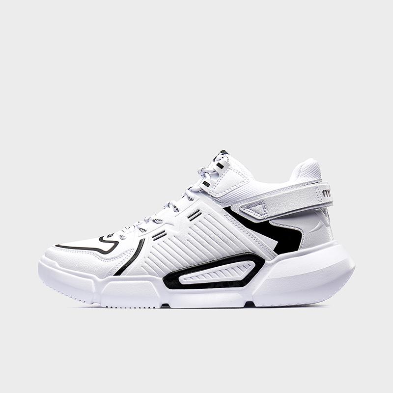特步 男子篮球鞋 19新款潮流革面轻便中帮球鞋881419129622