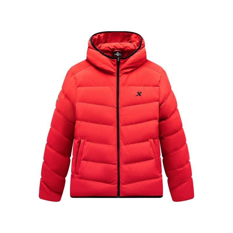 特步 男子羽绒服 2019冬季新款连帽保暖防风休闲外套881429199195