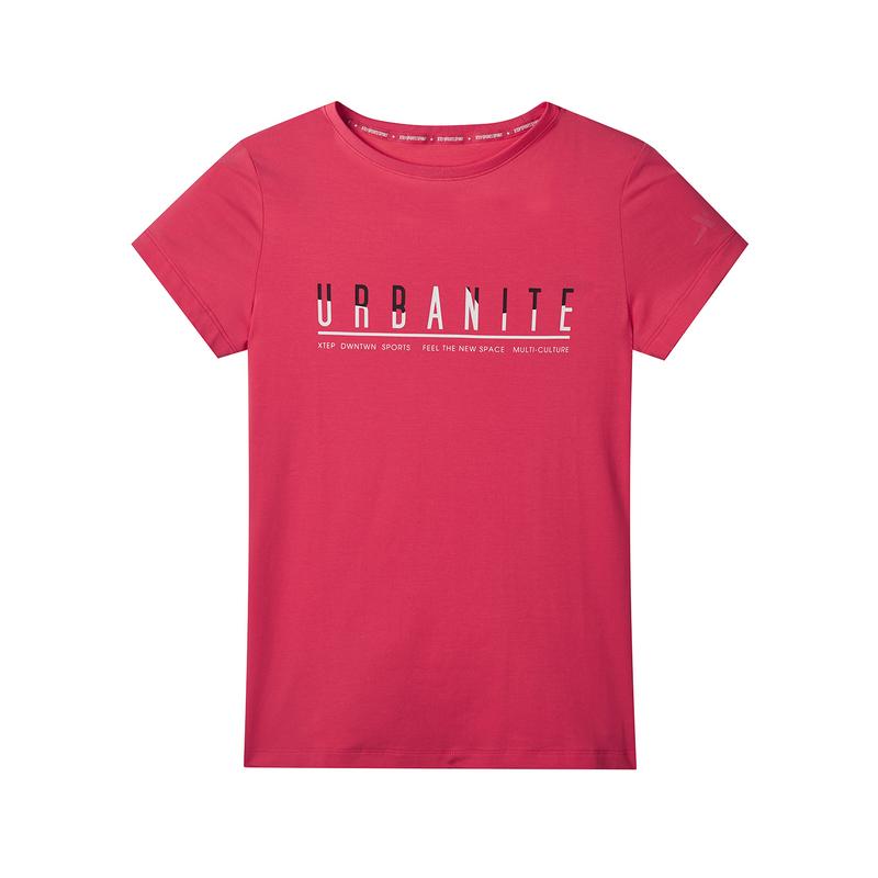 特步 专柜款 女子袖针织衫 2019秋季新款透气圆领T恤运动981328010403