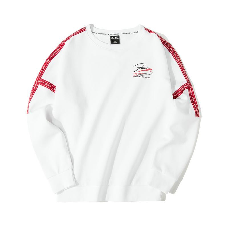 特步 专柜款 女子卫衣 19新款时尚侧边条纹套头衫981328920235