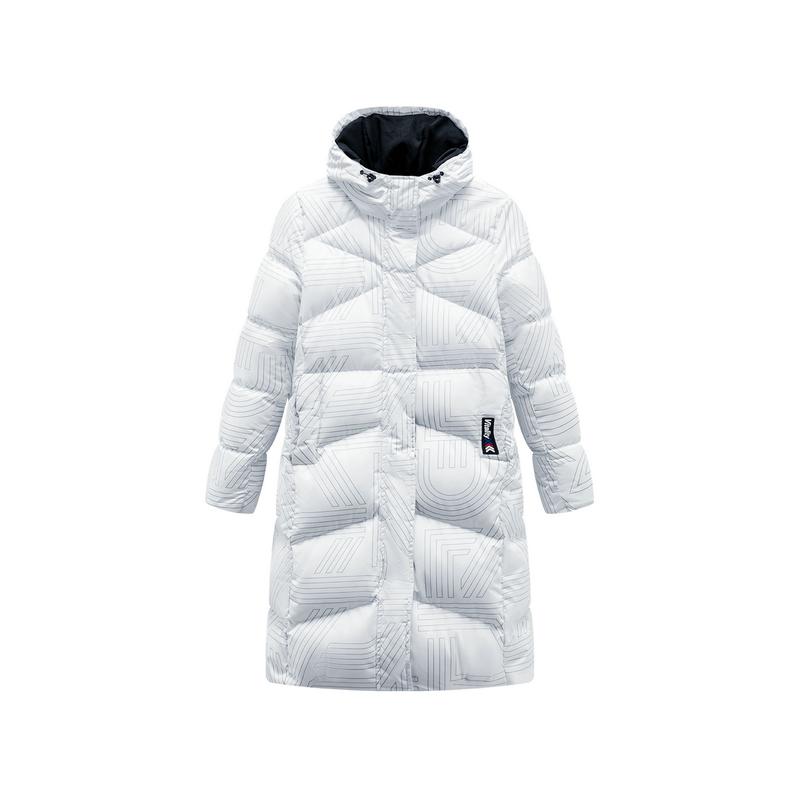 特步 女子羽绒服 19冬季新款连帽拉链长款保暖外套881428199168