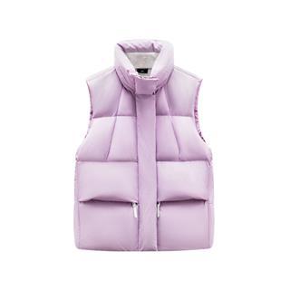 特步 女子羽绒马甲 19冬季新款宽松保暖口袋立领外套881428A49226