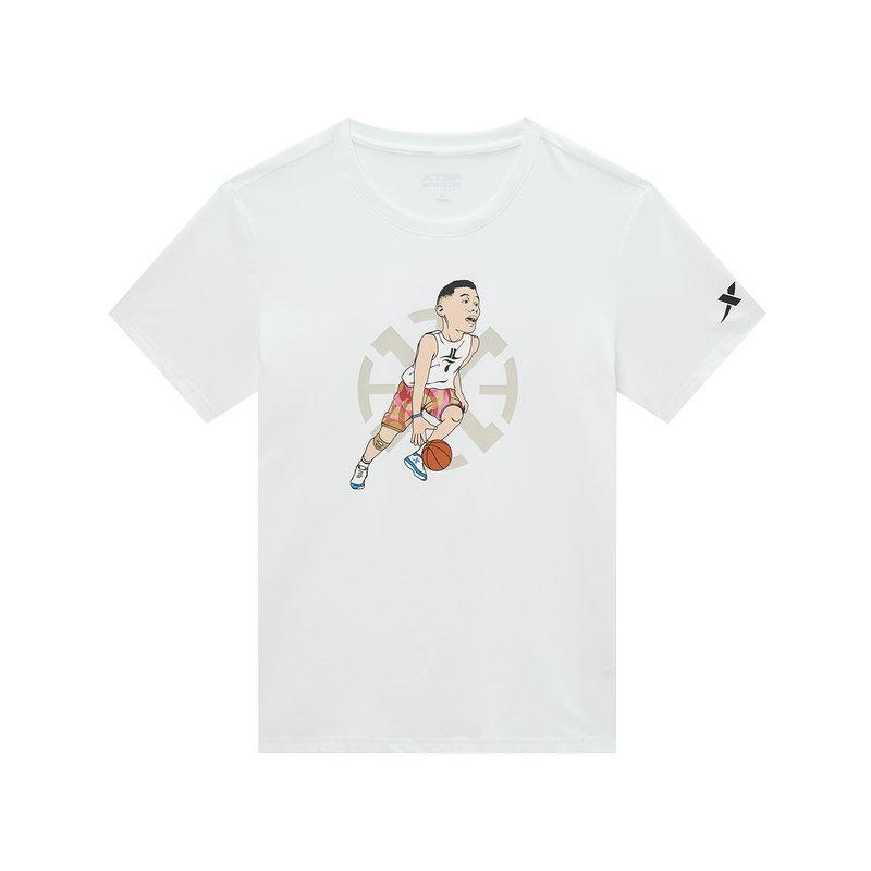 【林书豪同款】特步 男子短袖针织衫 19新款运动时尚印花T恤881329019400