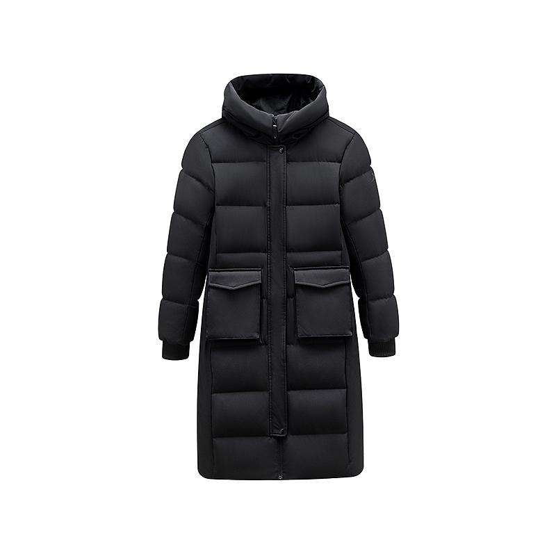 特步 女子羽绒服 2019冬季新款长款灰鸭绒保暖羽绒服881428199202