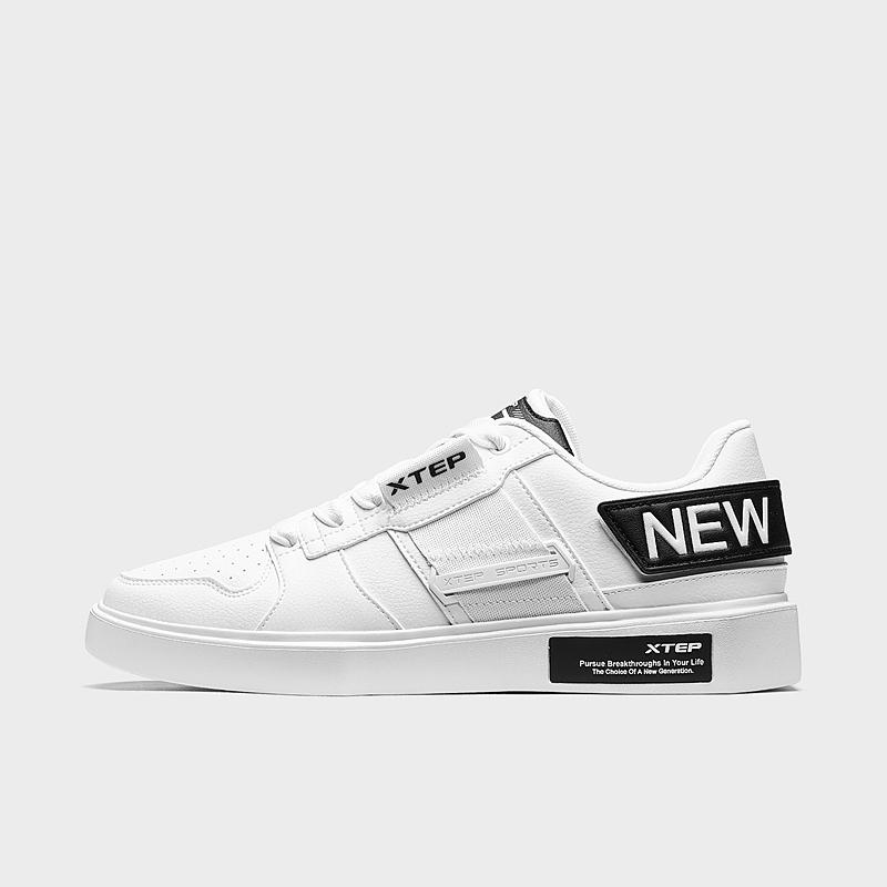 特步 男子板鞋 19新款时尚解构革面透气鞋881419319791